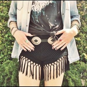 LF Crochet and Tasseled Cheeky Shorts